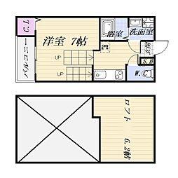愛知県名古屋市昭和区吹上1丁目の賃貸アパートの間取り