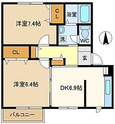 シャーメゾン千間台C 202[2階]の間取り