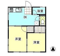 JR津山線 玉柏駅 徒歩26分の賃貸アパート 2階2DKの間取り