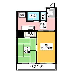 仙台リバーサイドプラザ208号室[2階]の間取り