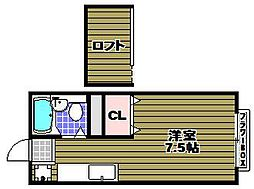大阪府河内長野市汐の宮町の賃貸アパートの間取り