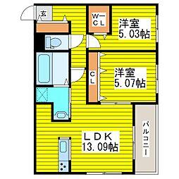 札幌市営東豊線 東区役所前駅 徒歩12分の賃貸マンション 2階2LDKの間取り