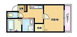 Osaka Metro谷町線 千林大宮駅 徒歩11分の賃貸マンション 1階1Kの間取り