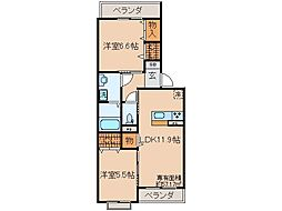 京都府京都市山科区大宅古海道町の賃貸アパートの間取り