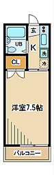 第1コーポ市瀬[2階]の間取り