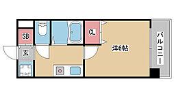 兵庫県神戸市兵庫区門口町の賃貸マンションの間取り