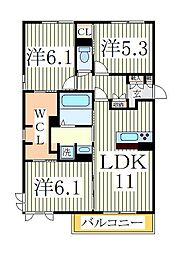 仮)D−roomセントラルパーク[2階]の間取り