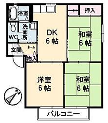 広島県福山市新市町大字相方の賃貸アパートの間取り