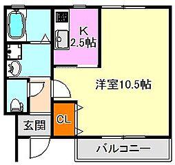 兵庫県神戸市垂水区塩屋町6丁目の賃貸アパートの間取り