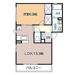 神奈川県厚木市愛甲東2丁目の賃貸アパートの間取り
