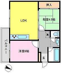 千葉県松戸市小金原7丁目の賃貸マンションの間取り