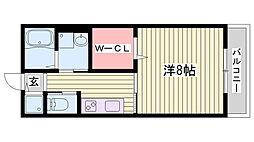 JR東海道・山陽本線 西明石駅 徒歩4分の賃貸アパート 2階1Kの間取り