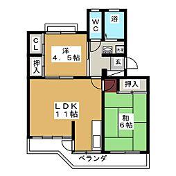 コーポ三浦[3階]の間取り