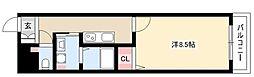 アルカディアVIII 2階1Kの間取り