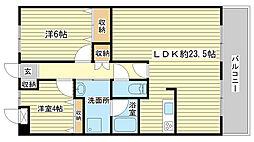 ライオンズマンション姫路市役所前[1104号室]の間取り