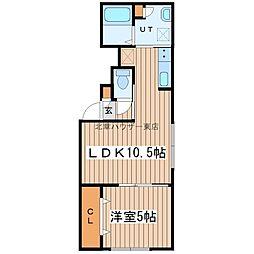 札幌市営東豊線 新道東駅 徒歩7分の賃貸マンション 2階1LDKの間取り