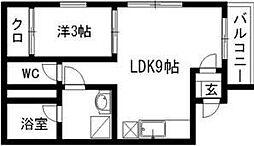 ドリームパレス松島 3階1LDKの間取り