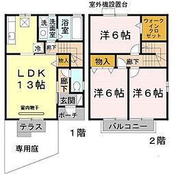 兵庫県神戸市北区山田町下谷上字芝の賃貸アパートの間取り