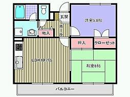 フォンターナ久米田[301号室]の間取り