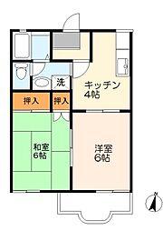 神奈川県川崎市多摩区菅北浦3丁目の賃貸アパートの間取り