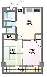 愛知県名古屋市名東区山の手2丁目の賃貸マンションの間取り
