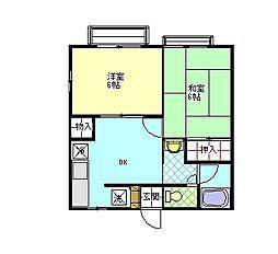 エザース山田B[2階]の間取り