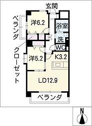エクセレント高見[3階]の間取り