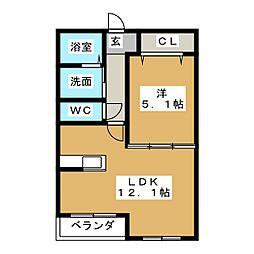 ハートフルマンション シエル 2階1LDKの間取り