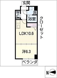 H・F名駅北レジデンスWEST[2階]の間取り