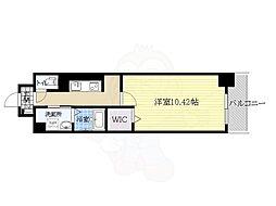 阪急千里線 南千里駅 徒歩14分の賃貸マンション 4階1Kの間取り
