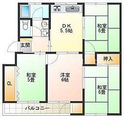 神陵台東住宅54号棟[5階]の間取り