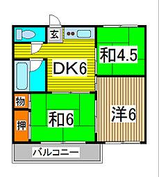三崎コーポ[102号室]の間取り