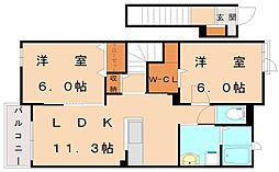サン ヴィレッジ B[2階]の間取り