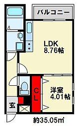 グランドプレミアム三萩野 3階1LDKの間取り