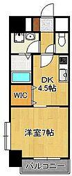 サンルーヴル 4階1DKの間取り