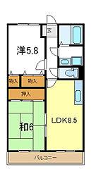 兵庫県加古川市野口町良野の賃貸マンションの間取り