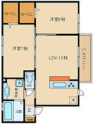 大阪府八尾市木の本2丁目の賃貸アパートの間取り