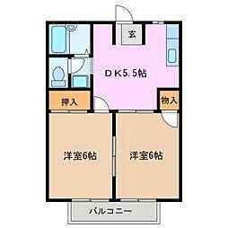 ハピネスタウン[2階]の間取り