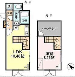 東急目黒線 武蔵小山駅 徒歩4分の賃貸マンション 4階1LDKの間取り