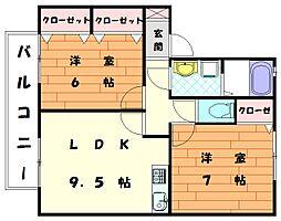 セジュールユリ[1階]の間取り