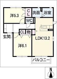 Pal Court B棟[1階]の間取り
