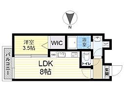 餅ヶ浜マンション(仮) 8階1LDKの間取り