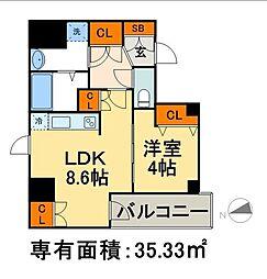 AXIA日本橋茅場町 8階1LDKの間取り