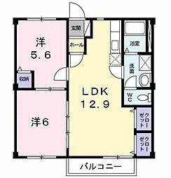 クレセントA[2階]の間取り