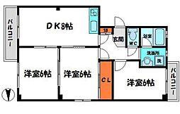 ドリーミーニシキ 2階3DKの間取り