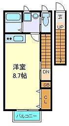仙台市営南北線 北四番丁駅 徒歩7分の賃貸アパート 2階ワンルームの間取り