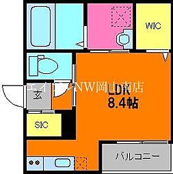 JR宇野線 大元駅 徒歩17分の賃貸アパート 1階ワンルームの間取り