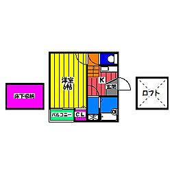 福岡県福岡市南区横手1丁目の賃貸アパートの間取り