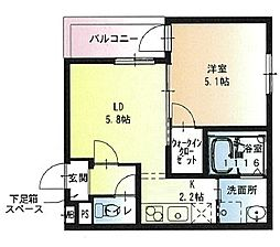 近鉄奈良線 若江岩田駅 徒歩2分の賃貸アパート 1階1LDKの間取り