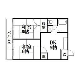 静岡県浜松市中区龍禅寺町の賃貸マンションの間取り